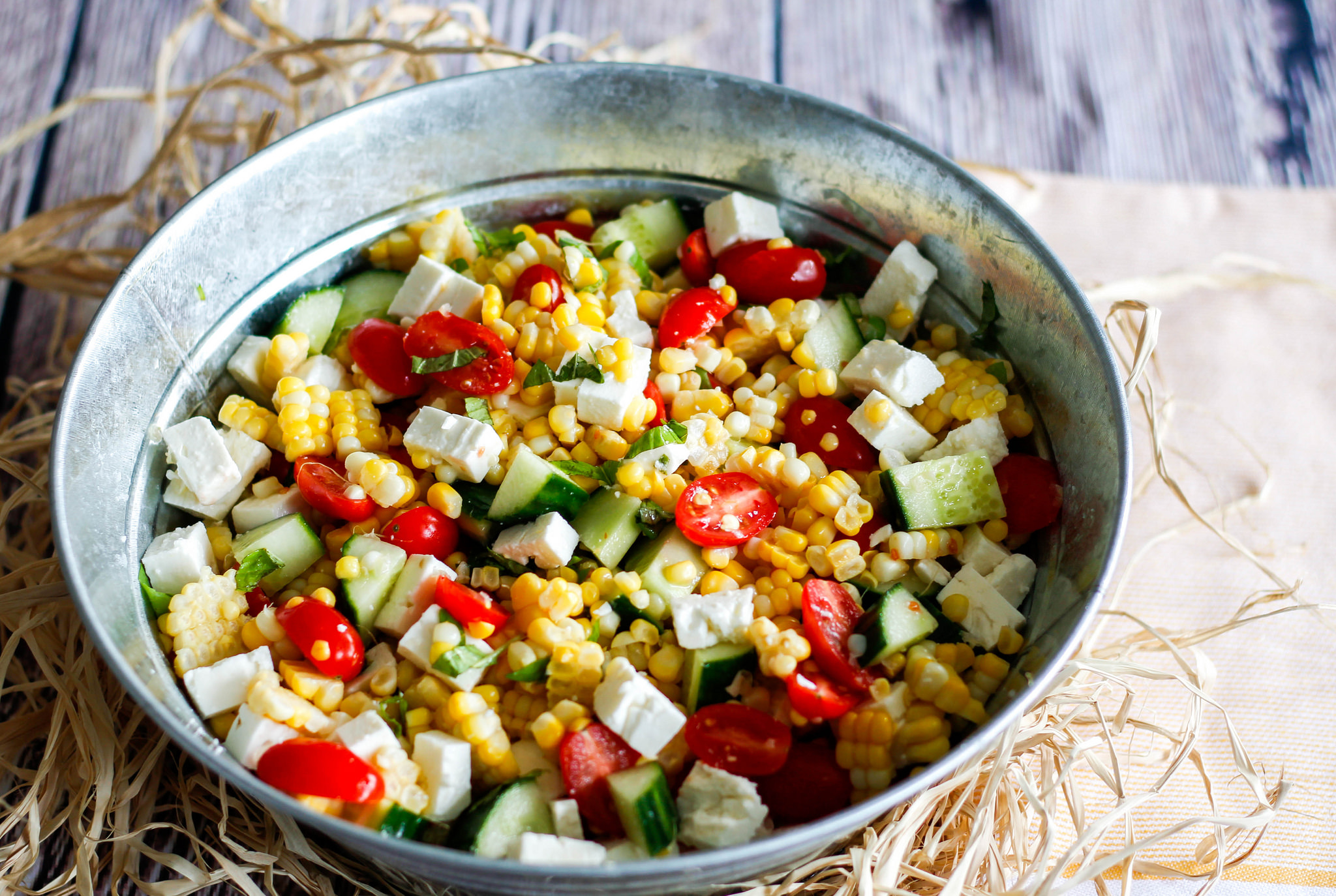 Maissalat einfach machen mit Käse